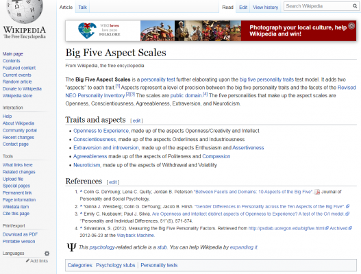 Understand Myself de Wikipedia Artikel Big Five Aspektskala